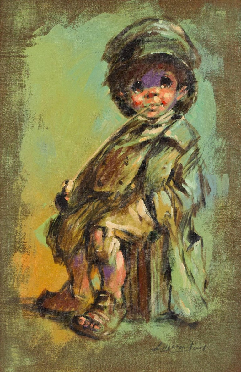 Runaway Child, Expressionist Oil Painting - Brown Figurative Painting by Barry Leighton-Jones