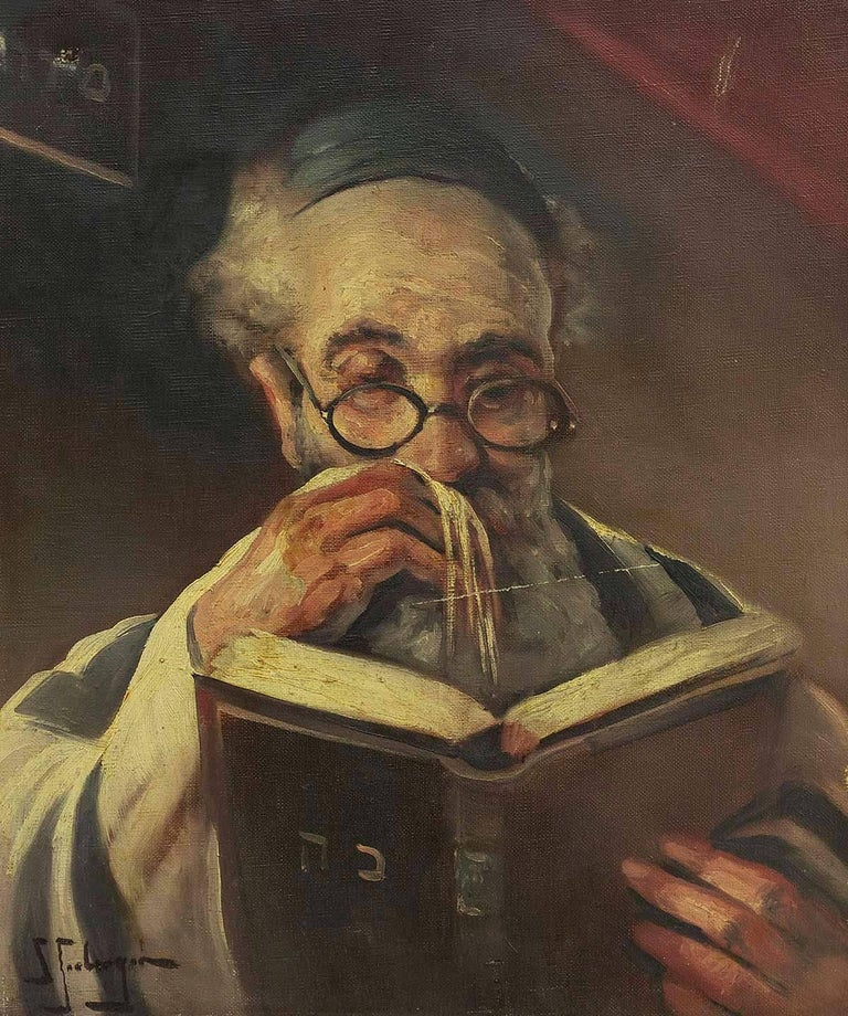Rabbi In Prayer (the Shema) Oil Painting - Black Figurative Painting by Samuel Seeberger