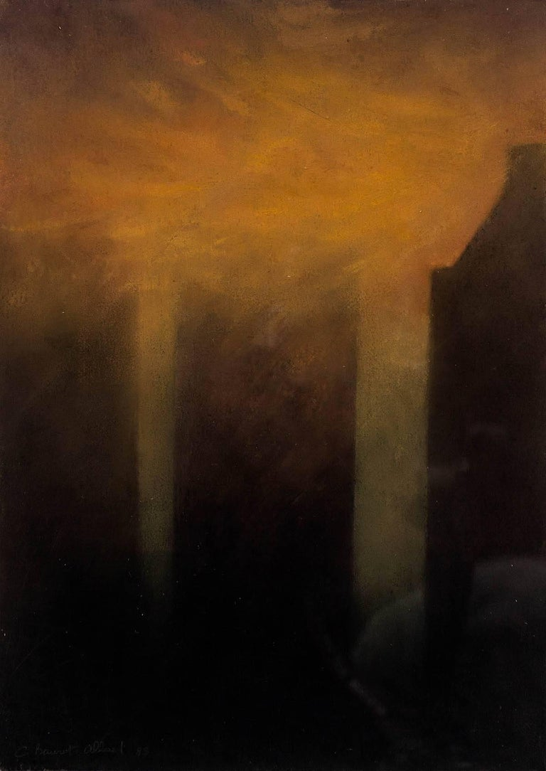 The Fog On New York, 1988 Pastel - Painting by Claude Bauret Allard