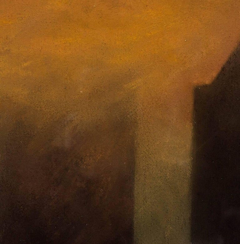 The Fog On New York, 1988 Pastel - Beige Abstract Painting by Claude Bauret Allard