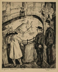 """Drypoint Etching """"Penguin Island"""" 1926"""