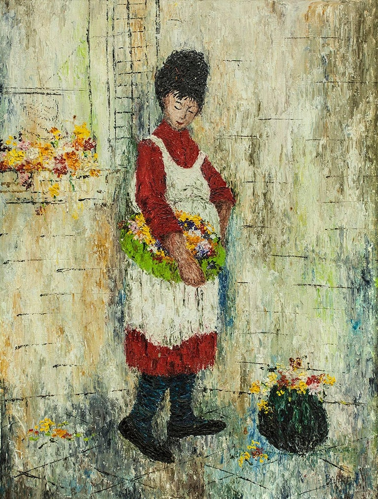 Woman in Apron with Basket of Flowers, Oil Painting - Brown Figurative Painting by Mildred Barrett