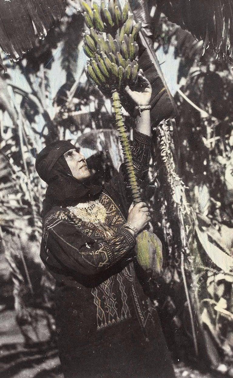 Yemenite Woman Picking Bananas in her Garden, Rehovot Original Silver Gelatin - Photograph by Yaacov Ben Dov