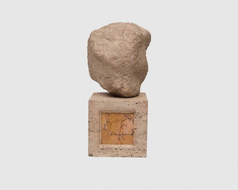 Gentleman, Marble and Travertine Conceptual Sculpture