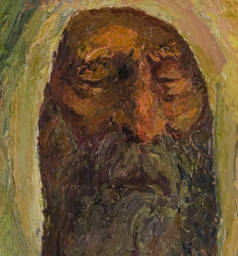 Judaica Oil Painting Hasidic Meditation In Prayer - Black Figurative Painting by Chaïm Goldberg