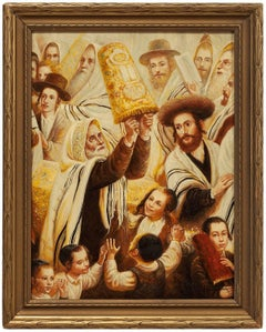 Simchat Torah, Rejoicing with the Torah Jewish Holiday Judaica Painting
