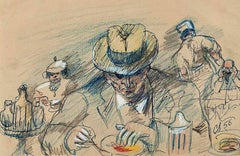 Man in Fedora Eating at the Diner