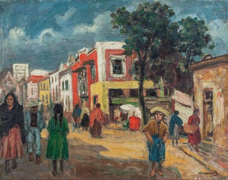Street Scene Oil Painting Circa 1930s - Gray Figurative Painting by Albert Abramovitz