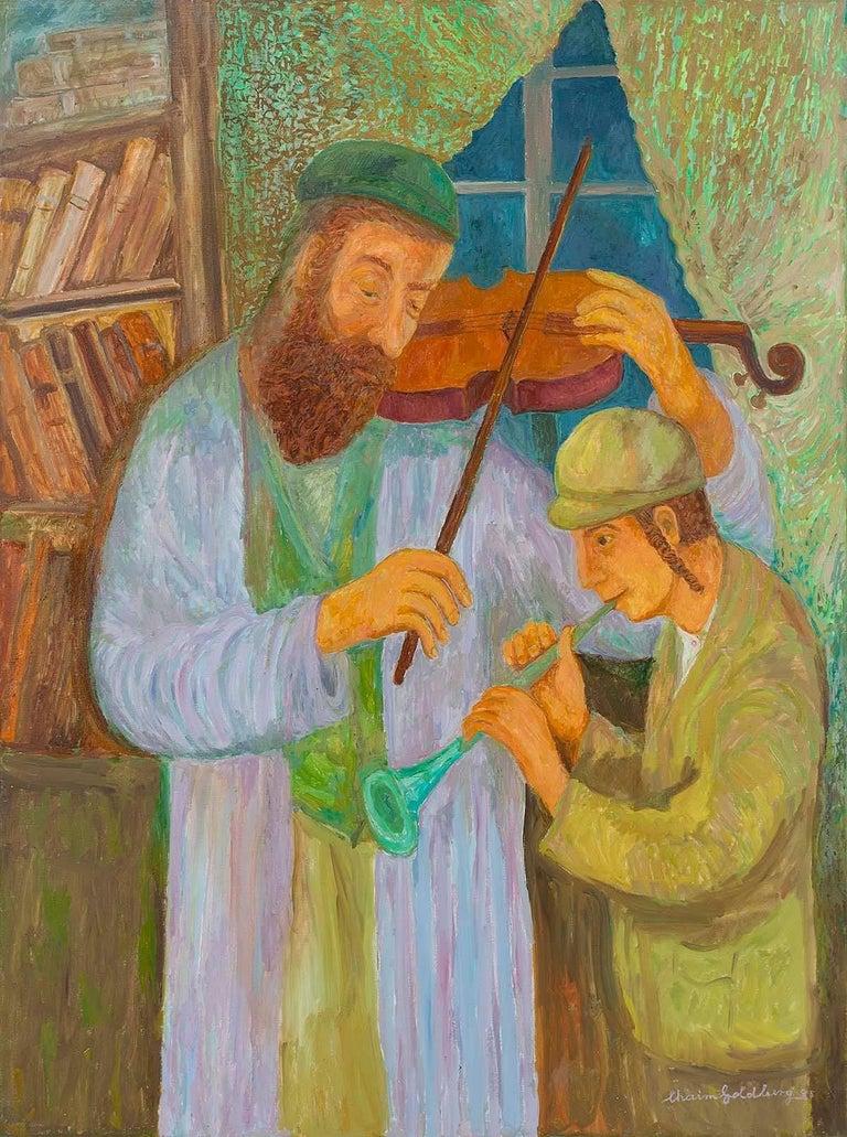 Music Lesson, Judaica Painting, Shtetl Life - Brown Figurative Painting by Chaïm Goldberg