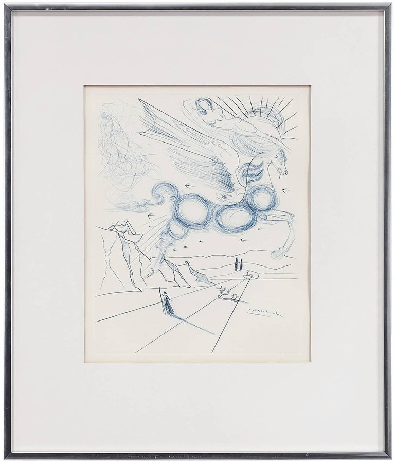 PEGASUS IN FLIGHT WITH ANGEL, Etching - Print by Salvador Dalí