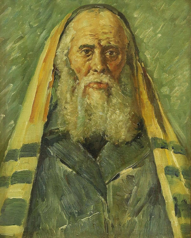 Rare Judaica Portrait of European Hasidic Rabbi, Painting - Brown Portrait Painting by Unknown