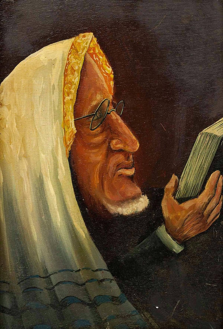 Belgian Modernist Judaica Oil Portrait of a Rabbi - Painting by Unknown