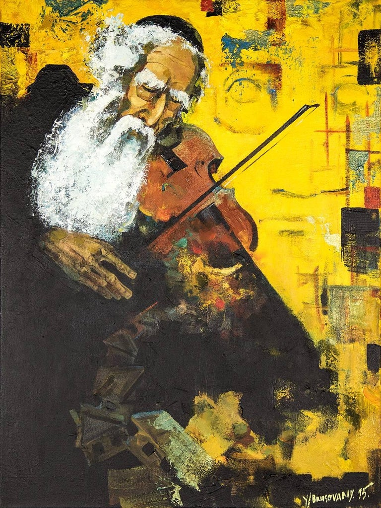 Post Soviet Avant Garde Judaica Rabbi Playing Violin (the Klezmer Fiddler) - Painting by Yuri Brusovany
