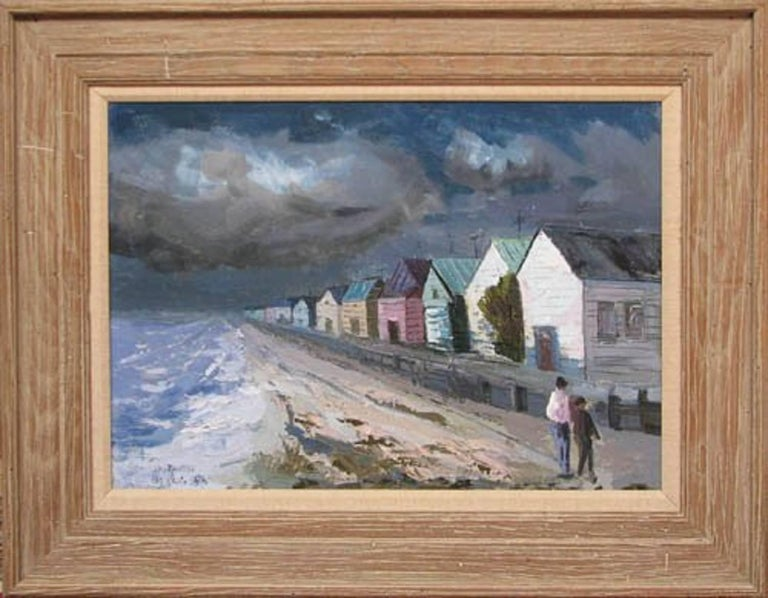 Artist: Cherkas, Constantine (American, born 1919) Title: Summer Houses at Laguna Beach  Date: 1956 Medium: oil on canvas Dimensions: 20 x 28 inches  Description: A great view of the California Beach Signature: signed and dated Constantine Cherkas