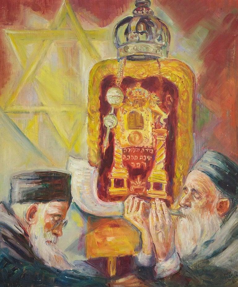 High Holidays Shofar Judaica Oil Painting - Brown Figurative Painting by Freda Leibovitz Reiter