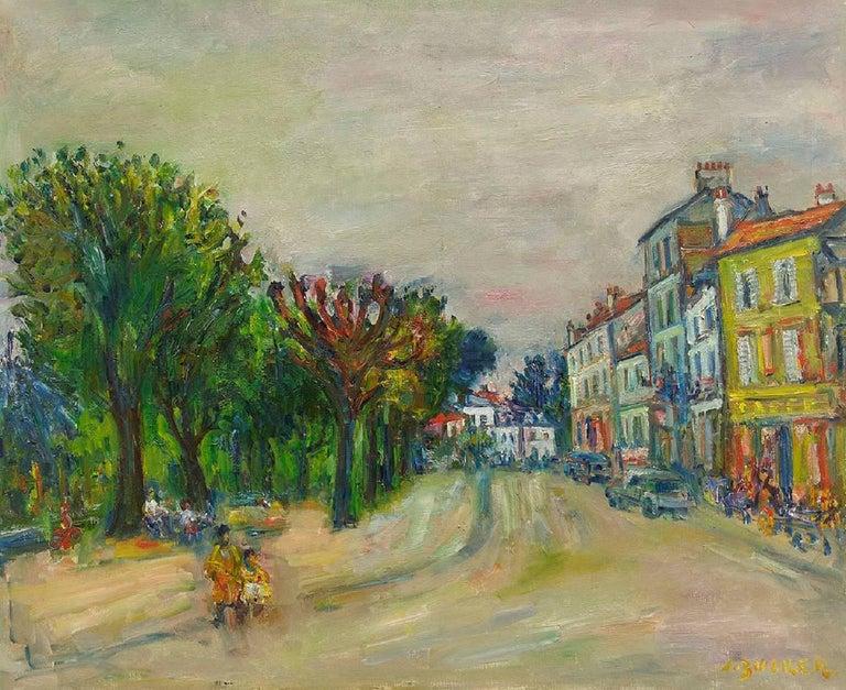 Jacques Zucker Landscape Painting - Parisian Street Scene, Oil on Canvas Ecole D'Paris, WPA, Bezalel Artist