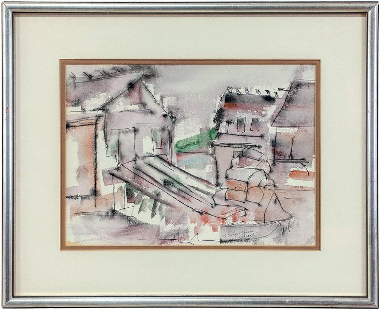 WPA Woman Artist Modernist Abstract Watercolor of Houses - Gray Abstract Drawing by Riva Helfond
