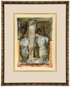 "Israeli Modernist ""At The Cistern"" Biblical Painting"