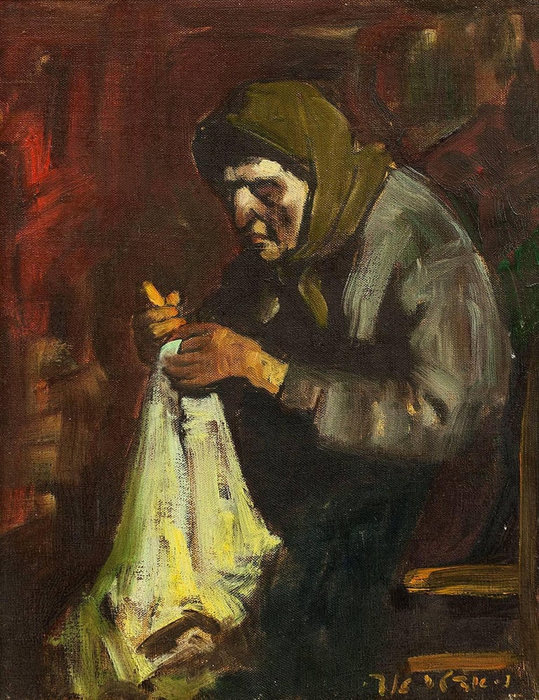 Bubbe Embroidering, Expressionist Oil Painting - Brown Figurative Painting by Adolf Adler