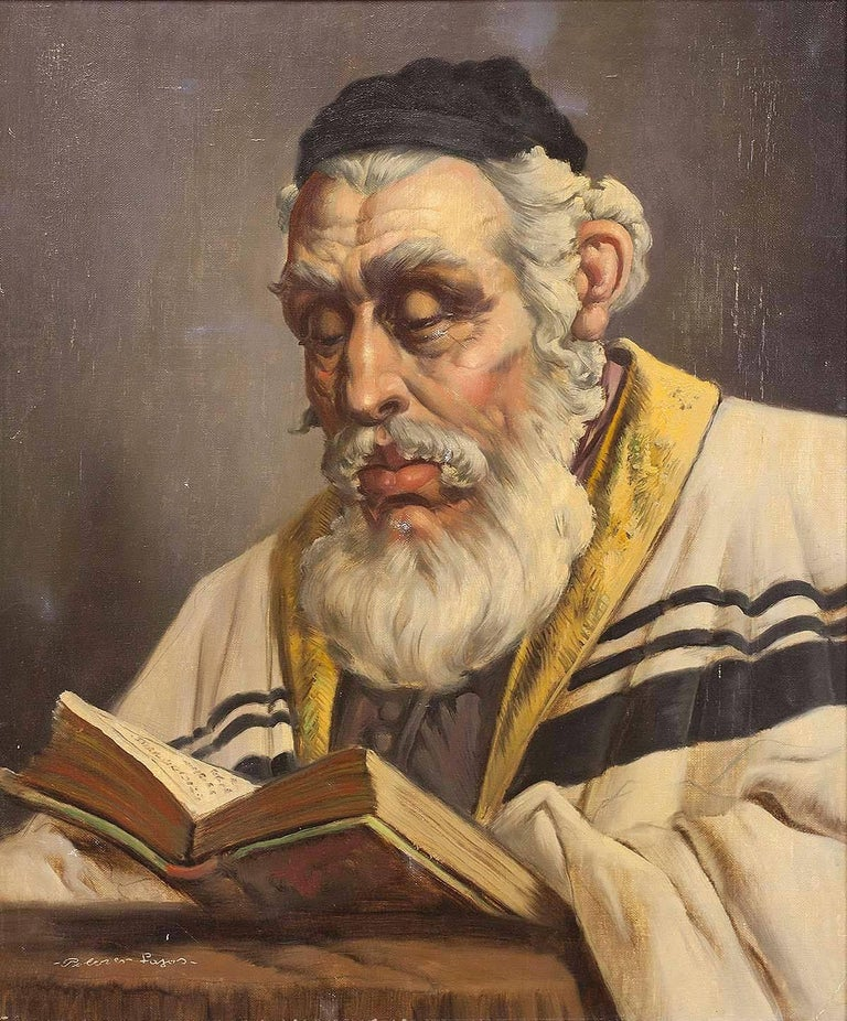 Hungarian Rabbi Large Judaica Portrait Oil Painting  - Brown Portrait Painting by Unknown