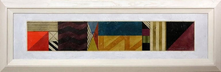 """Gregg Robinson, American (born 1948) """"Cipher Bar 19"""" Oil on Canvasboard Panel. Artist signed, title and dated 1990 far right. Very minor rubbing to paint. Panel measures 15-1/4"""" H x 63-1/2"""" W, frame measures 24-1/4"""" H x 72-1/4"""" W  GREGG ROBINSON The"""