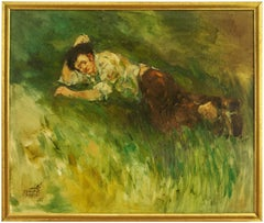 Young Man Napping on Grassy Hill Israeli Oil Painting