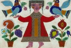 Glazed Israeli Folk Art Naive Tile Figure with Flowers and Birds