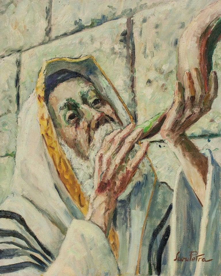 Judaica Painting Blowing Shofar at the Western Wall - Brown Figurative Painting by Savu Petra Dan