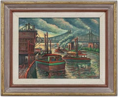 Around East River, NYC Bridge, City Scene Oil Painting WPA Era 1940s