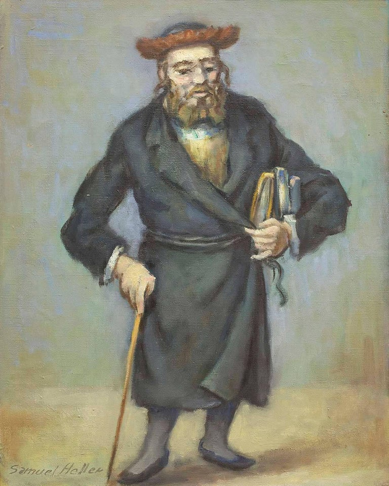 Rare Judaica Rabbi Oil Painting (JEWISH MAN HOLDING A CANE AND BOOKS) For Sale 1