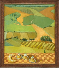 Untitled Patchwork Landscape with French Pastries Large Painting