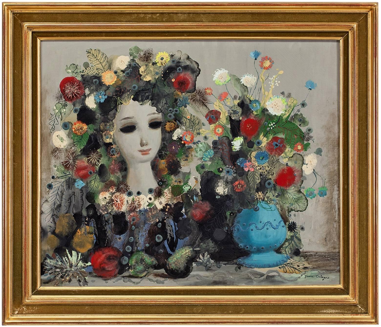 Large Italian Surrealist Oil Painting Jean Calogero Pomone Vase of Flowers