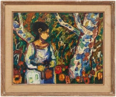 Modernist Woman With Flowers in Forest