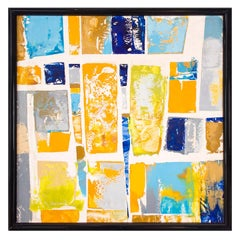 "Vibrant Modernist Painting ""Golden Square"" 1963"