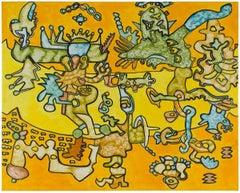 Twinning Stars, Abstract Surrealist Oil Painting 1970s