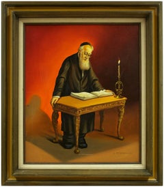 Rare Judaica Rabbi Painting