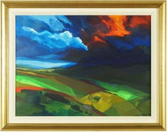 "Abstract Landscape ""Storm"" Oil Painting British Artist David Leverett"