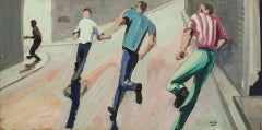'Giving Chase' California Modernist Oil Painting