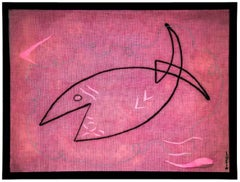 Poisson Agile, Fish Decoupage Collage Painting