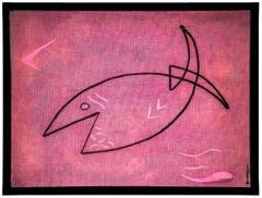 Poisson Agile, Fish Decoupage Collage Painting