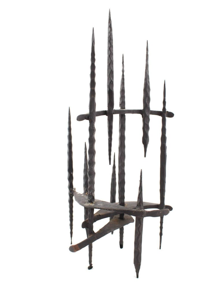 Mid Century Brutalist Iron Sculpture, Israeli Master David Palombo - Black Abstract Sculpture by David Palombo