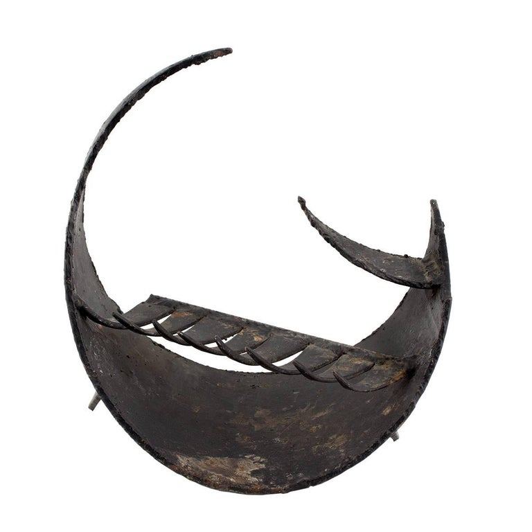 Brutalist Forged Iron Circular Menorah Sculpture Israeli Master David Palombo For Sale 2