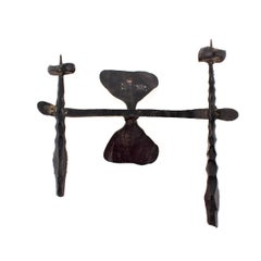 Brutalist Hand Forged Iron Sculpture Wall Sconce Israeli Master David Palombo