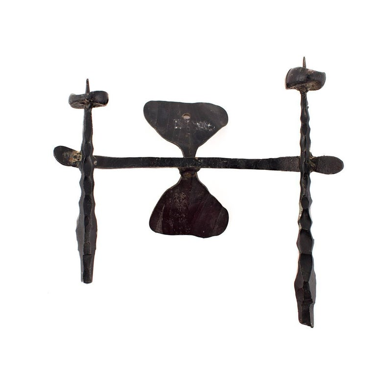 Brutalist Hand Forged Iron Sculpture Wall Sconce Israeli Master David Palombo - Black Abstract Sculpture by David Palombo