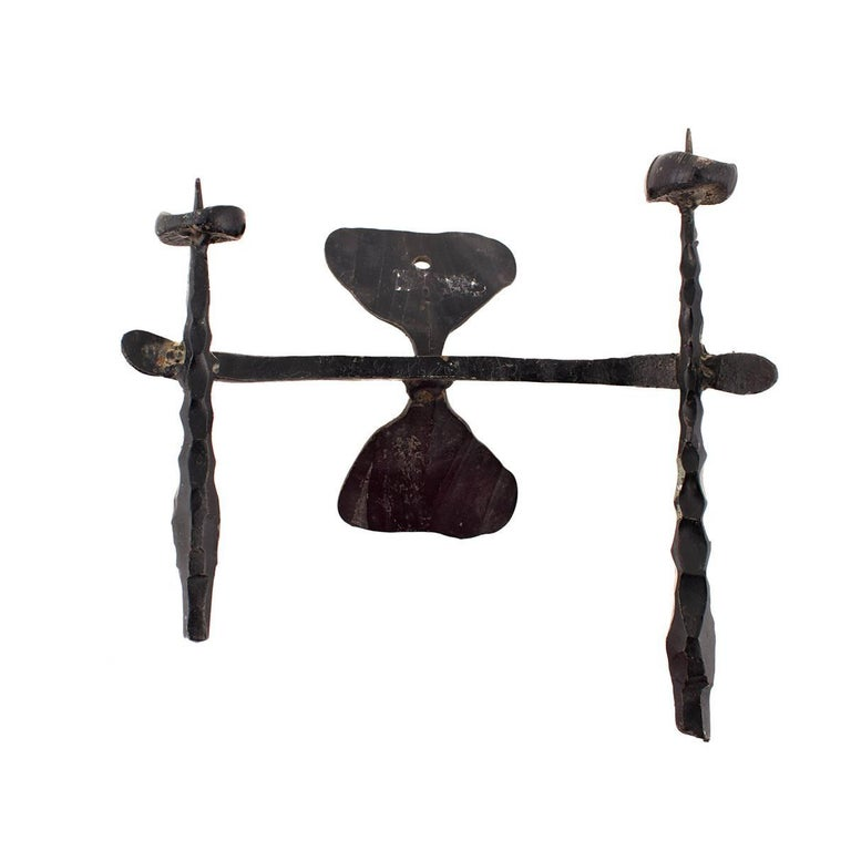 Brutalist Hand Forged Iron Sculpture Wall Sconce Israeli Master David Palombo For Sale 1