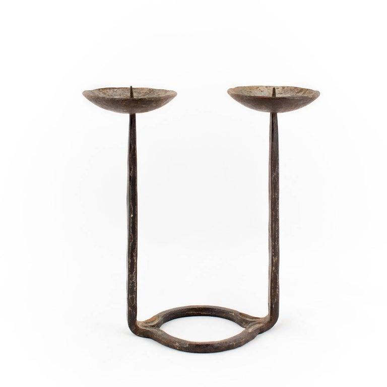Mid Century Brutalist Iron Candlestick Sculpture, Israeli Master David Palombo