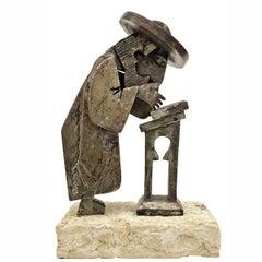 Rare Vintage Israeli Judaica Rabbi Praying Mechanical Sculpture