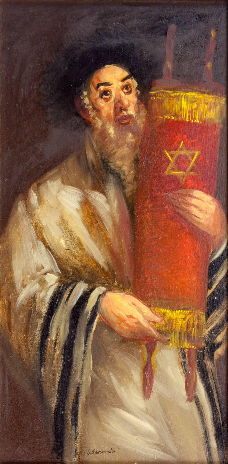 Simon Claude (Vanier) Abramovitch Figurative Painting - Rare Ecole De Paris Judaica Rabbin avec Torah (Rabbi with Torah) OIl Painting