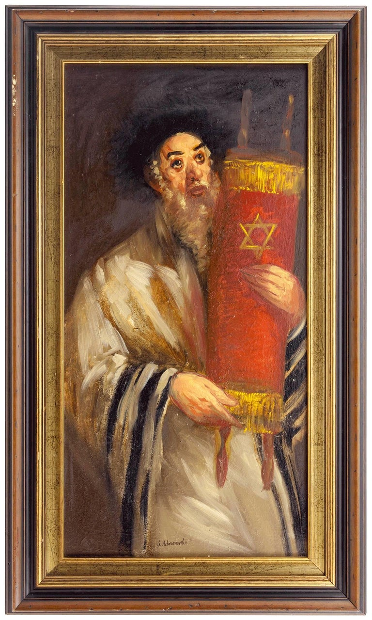 Rare Ecole De Paris Judaica Rabbin avec Torah (Rabbi with Torah) OIl Painting - Brown Figurative Painting by Simon Claude (Vanier) Abramovitch