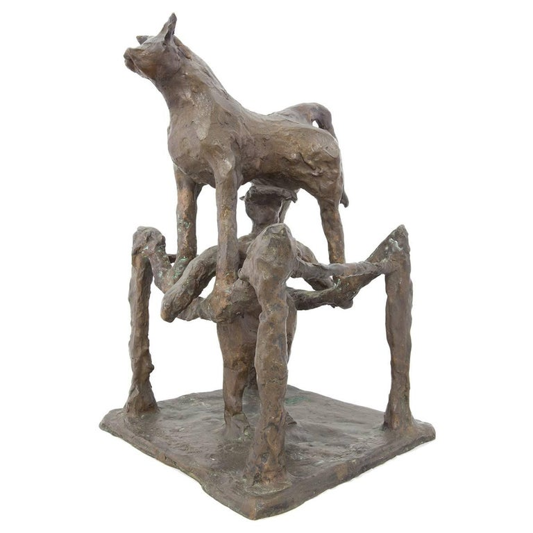 Rare Large Modern Bronze Sculpture Woman with Bull